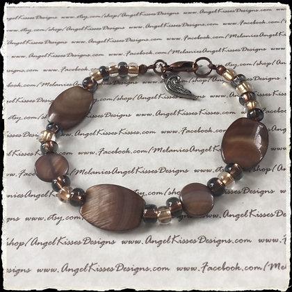 Bronze N Amber Beaded Bracelet