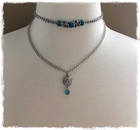 """""""Chained Up Blue Agate"""" Double Layered Choker Necklace"""