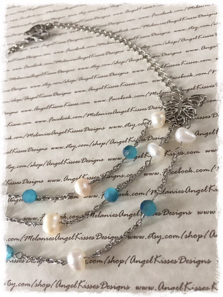 Butterfly Triple Layer Choker- Turquoise