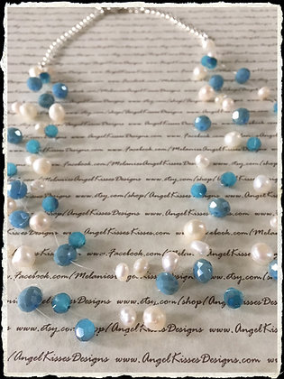 Floating Pearls- Turquoise N Cream