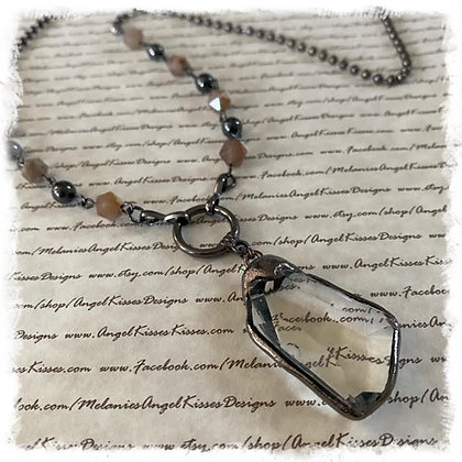 Clear Glass N Amber Gunmetal Long Necklace
