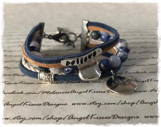 "Inspirational Message Wrap Bracelet-Denim ""Hope"""
