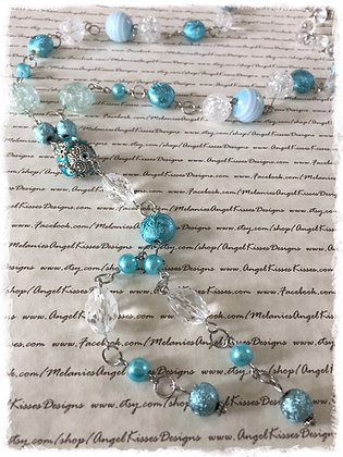 XL Beaded Necklace- Aqua Ice
