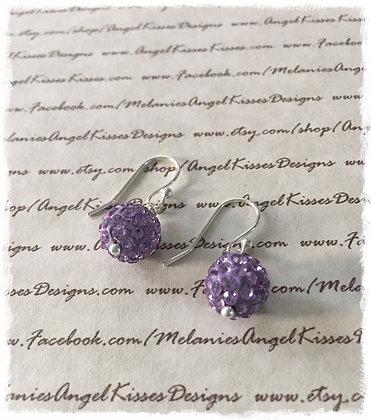 Crystal Snowball Earrings- Lavender