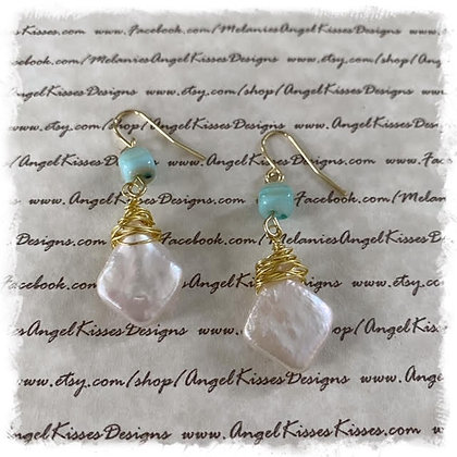 Beach Collection- Mother of Pearl Triangle Earrings