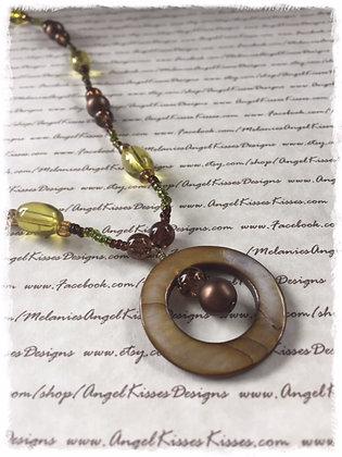 Bronze N Peridot Beaded Necklace & Earrings