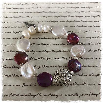 Natural Pearl Floral Stretch Bracelet