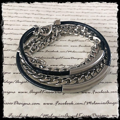 Men's Stainless and Leather Wrap Bracelet