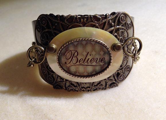 Believe Shell Antiqued Bracelet