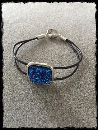 Black Leather N Sapphire Druzy Bracelet