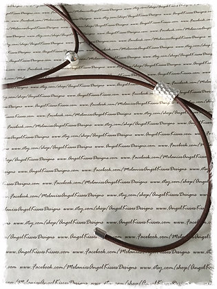 Leather Choker N Lariat- Mocha