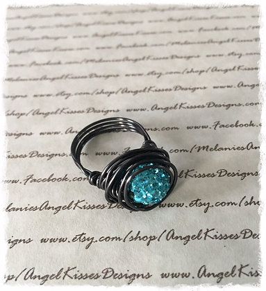 Nested Snowball Ring- Aqua
