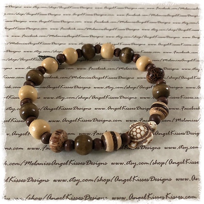 Wood Beaded Turtle Stretch Anklet/Bracelet