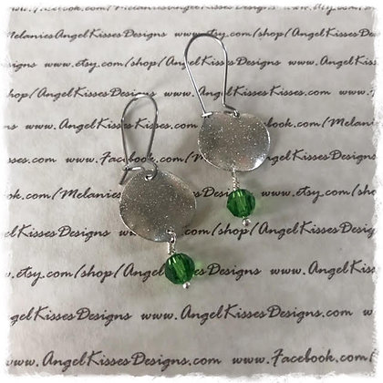 Winter Shimmer Disk Emerald Drop Earrimgs