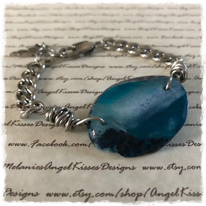 Stainless Gemstone Slab Bracelet - Turquoise- Oval Freeform
