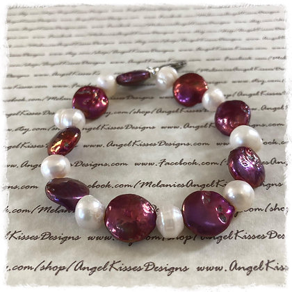 Fresh Water Cranberry Coin Stretch Bracelet