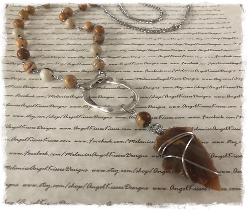 "Arrowhead Gemstone Necklace- ""Earth"""