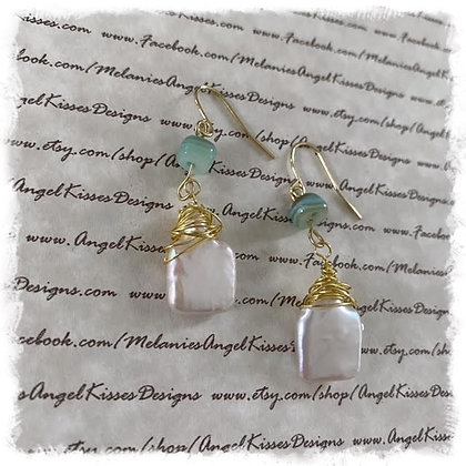 Beach Collection- Mother of Pearl Square Earrings