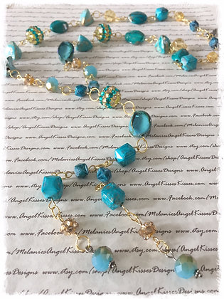 XL Beaded Necklace- Turquoise N Gold