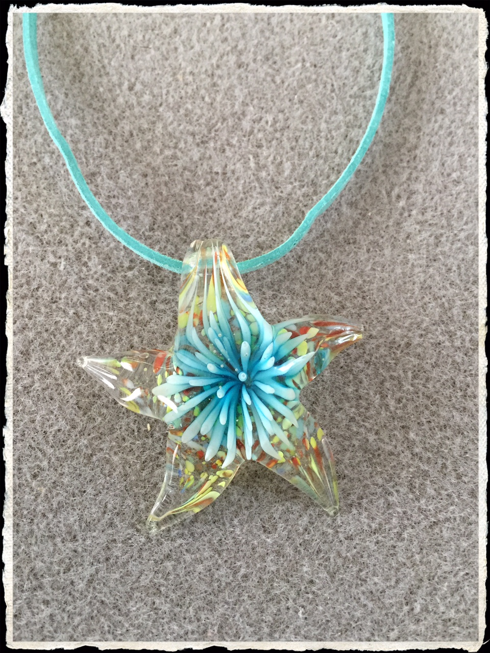 Summer Suede Collection- Aqua Glass Starfish