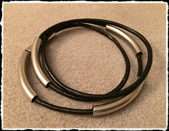 Leather N Stainless Wrap-  Licorice
