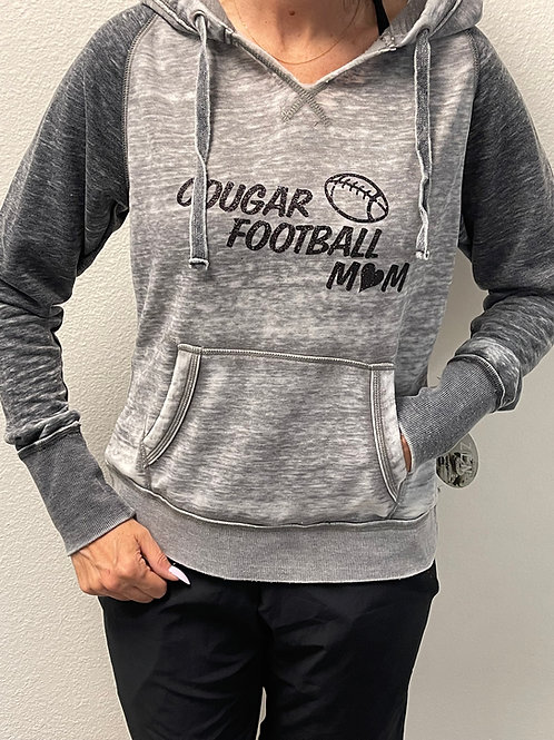 COUGAR FOOTBALL MOM HOODIE with GLITTER LOGO