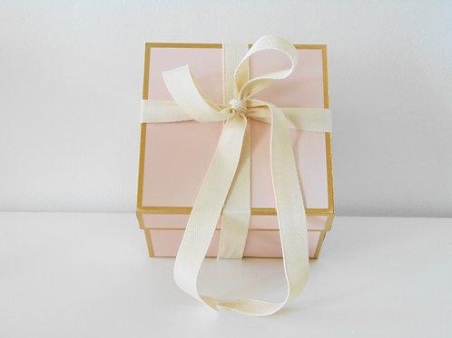 Pink Blush Gold Trim Gift Box-With Grosgrain Ribbon