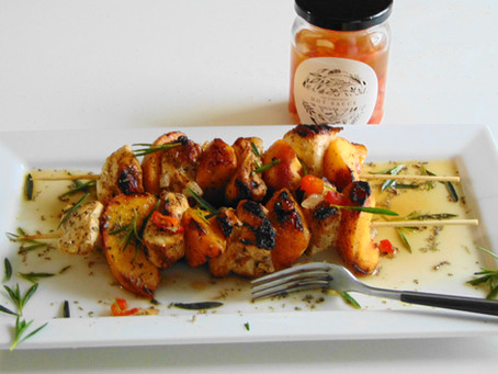 Everything Hot Sauce Chicken and Peach Kebabs