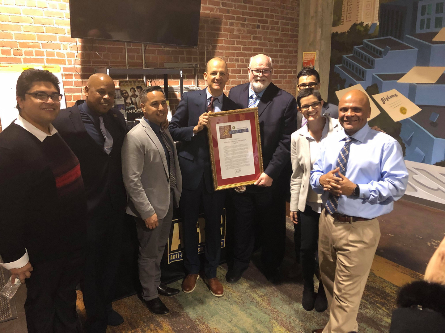 Assemblymember Kevin McCarty and Senator Jim Beall showing their support for the Prison Arts Collective with our PAC members and our partners at the ARC.