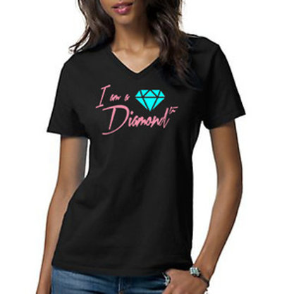 I AM A DIAMOND BLACK FITTED TEE