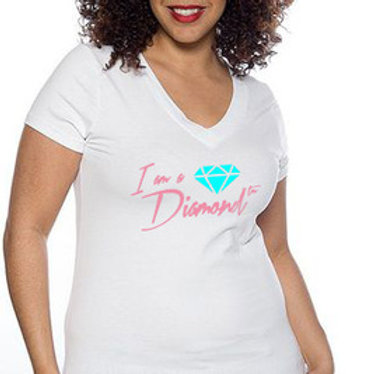 I AM A DIAMOND WHITE FITTED TEE