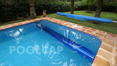 Poolabdeckung Rolloabdeckung Polycarbonat 15/60 mm kristallblau-transparent. Welle im Pool nachträglich eingehängt
