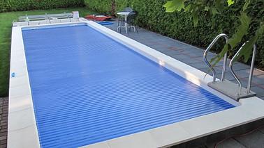 Poolabdeckung Rolloabdeckung Polycarbonat 15/60 mm kristallblau-transparent.