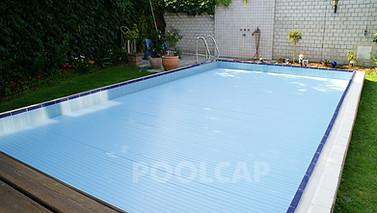 Poolabdeckung Rolloabdeckung PVC hellblau 15/60 mm kristallblau-transparent. Oberfluranlage