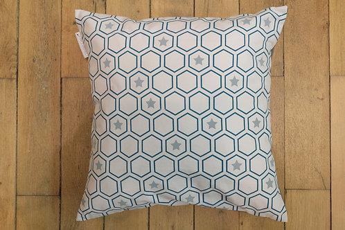 """Coussin """"Hexagones"""" - Bleu Pétrole et Gris"""