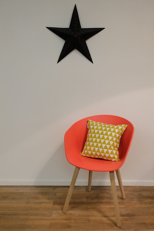 """Coussin """"Triangles"""" - Jaune Moutarde"""