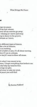 What Brings Me Peace by Karina Pokhrel