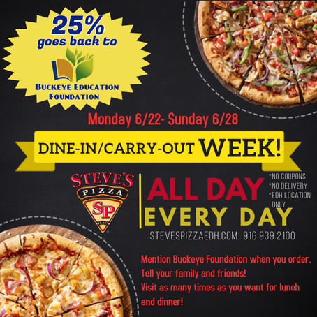 Steve's Pizza Dine-In Carry-Out WEEK!!