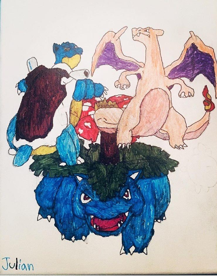 Pokemon characters Venusaur, Blastoise, & Charizard by Julian Vidales