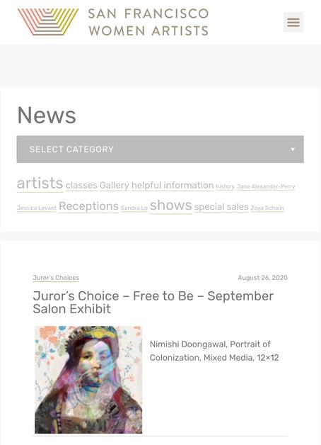 San Francisco Women Artists Gallery: Jurors Choice Award