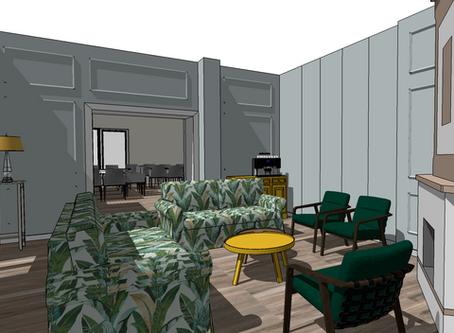 Salon z zabytkowym piecem, wizualizacja.