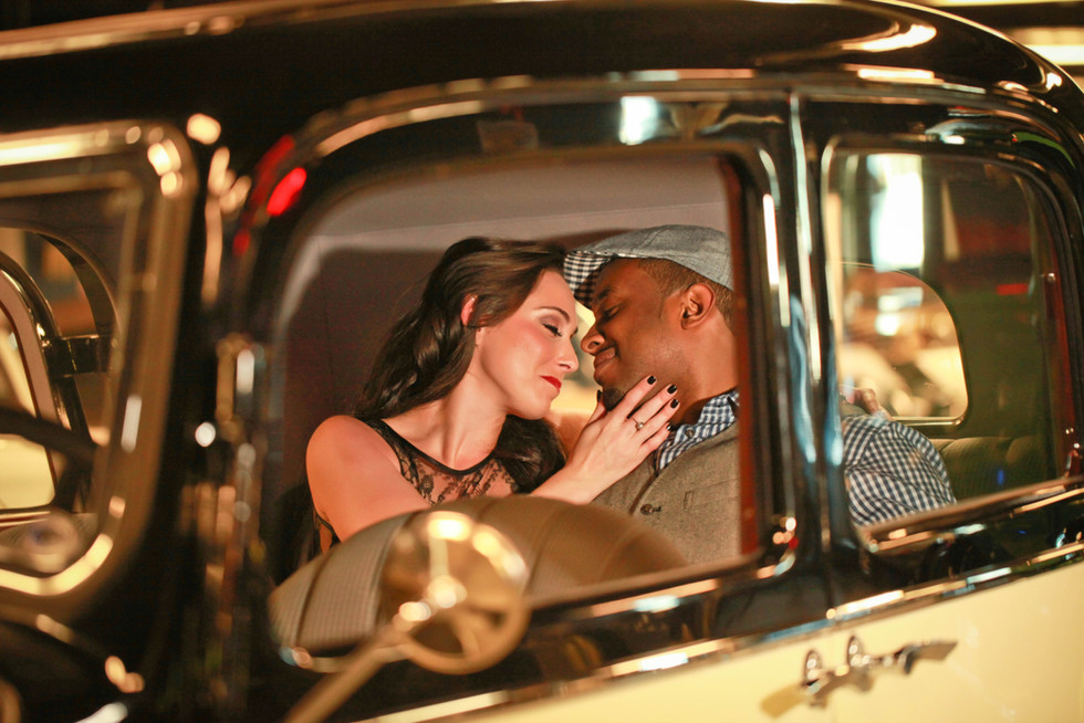 Vintage Car Museum Engagement Photo Clearwater, FL