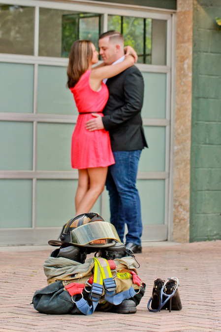 fireman and nurse photo session