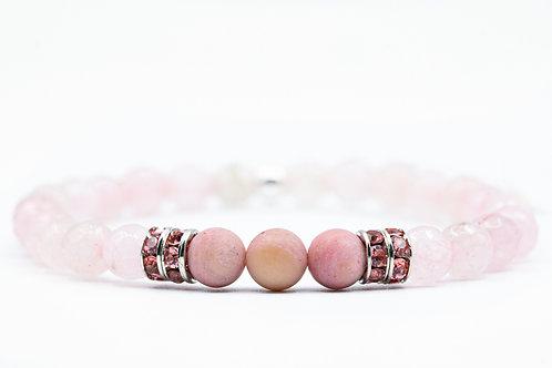 Bracelet Nitescence Rhodochrosite et Quartz rose