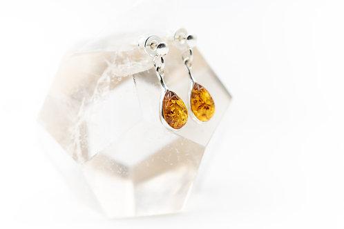 Boucles d'oreilles d'ambre sur argent 925