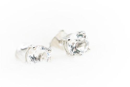 Boucles d'oreilles en Cristal de Roche Extra pur sur argent rhodié