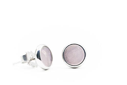 Boucles d'oreilles Quartz rose sur Argent
