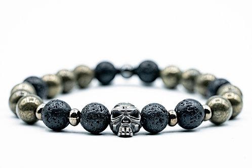 Bracelet Homme Pyrite et pierre de lave