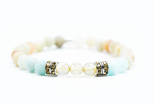 Bracelet Nitescence Amazonite et Quartz Rutile