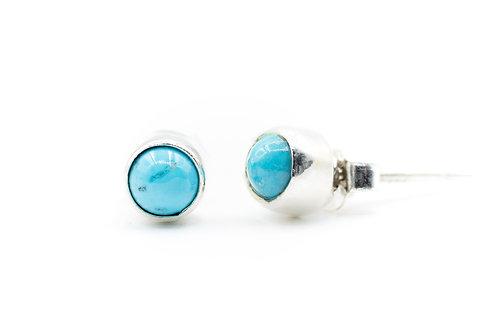 Boucles d'oreilles de pierre Turquoise sur argent massif